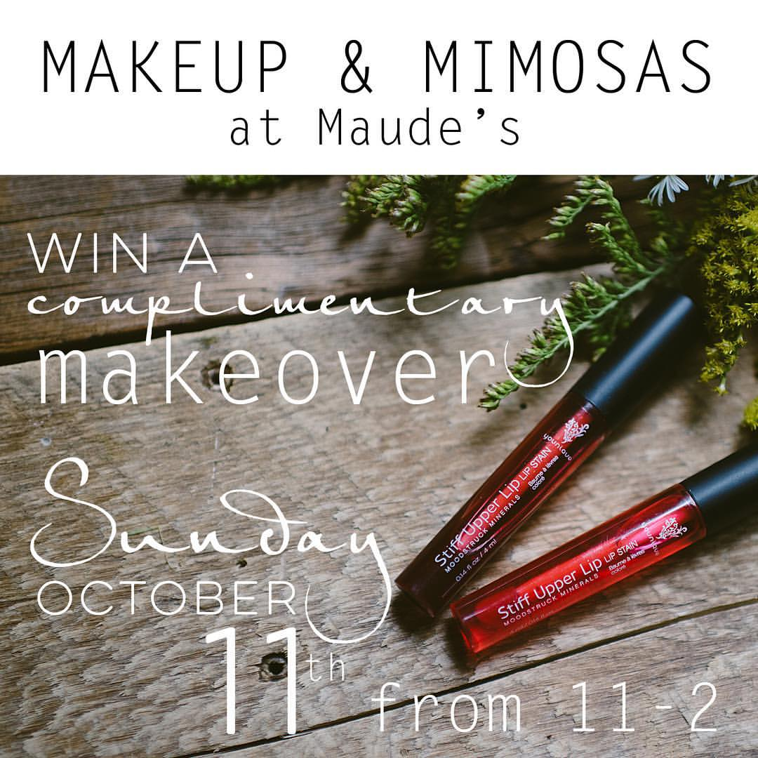 Maude's Makeup and Mimosa Event Flyer