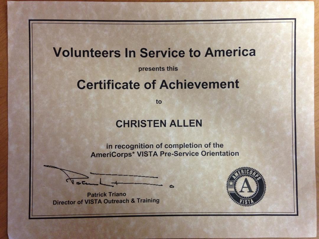 AmeriCorps VISTA Certificate