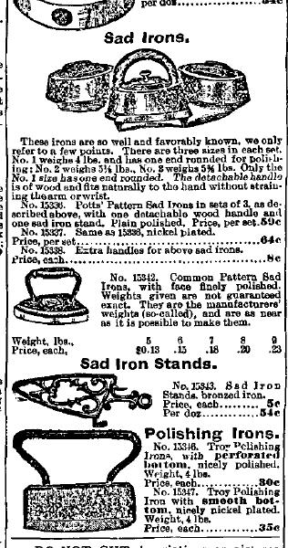 Sad & Polishing Irons and Trivet Advertisement