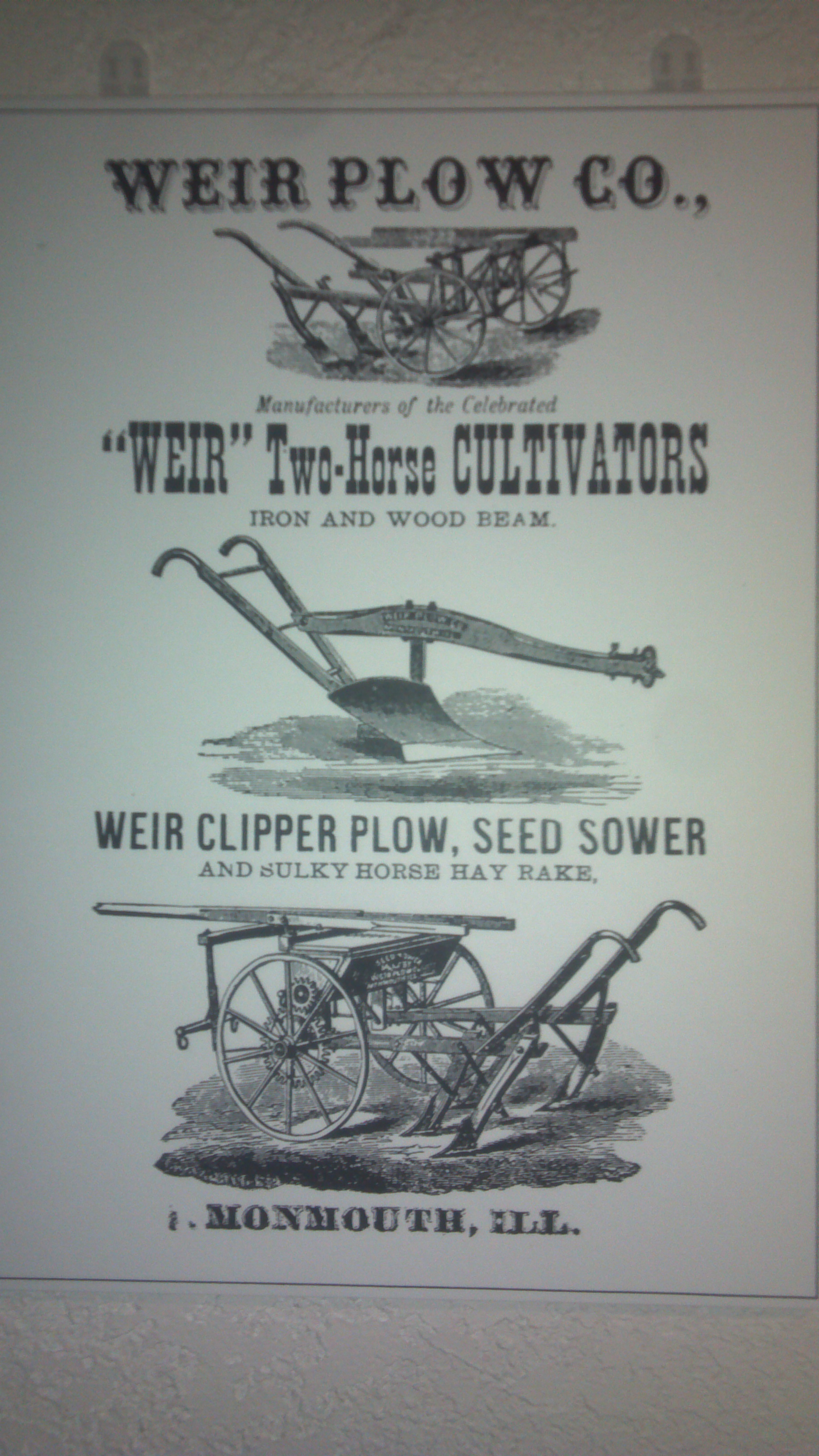 Weir Plow Company Advertisement