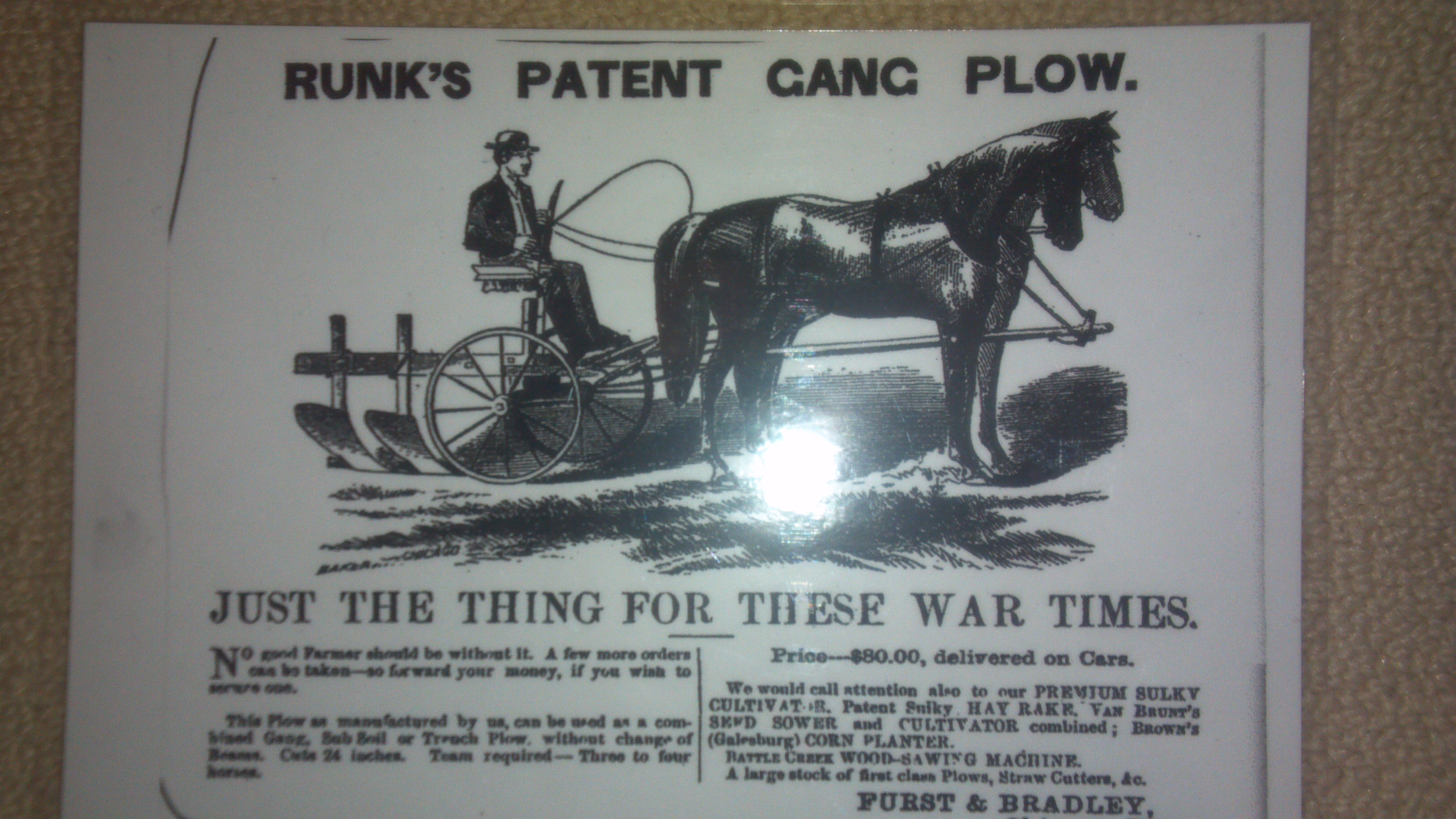 Runk's Patent Gang Plow Advertisement