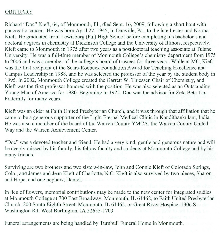 Doc Kieft - Obituary