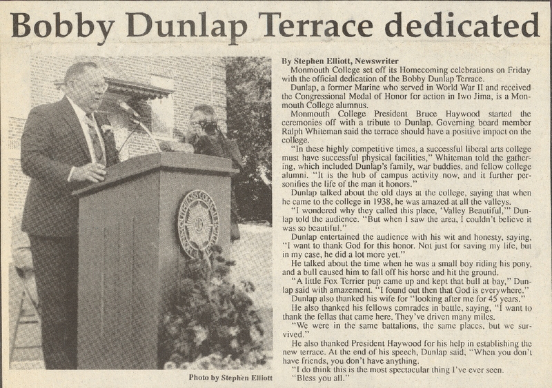 Dunlap Terrace Dedication Newspaper Article