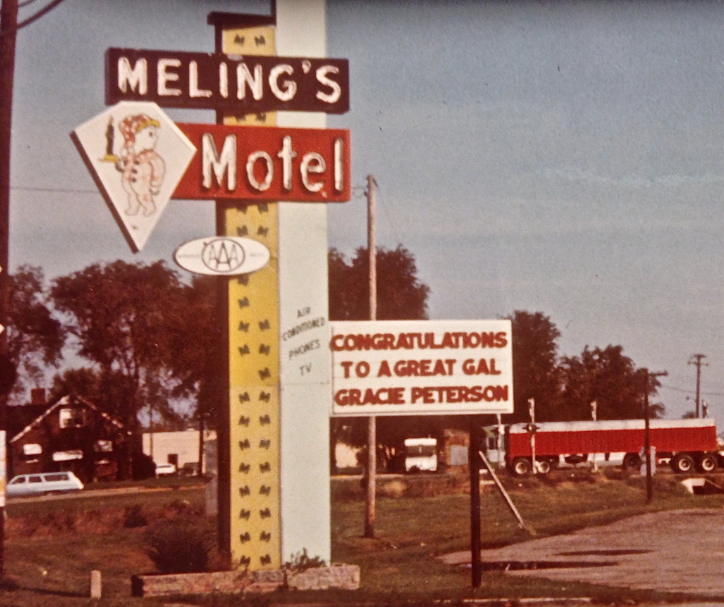 Congratulatory Sign Outside Meling's Motel
