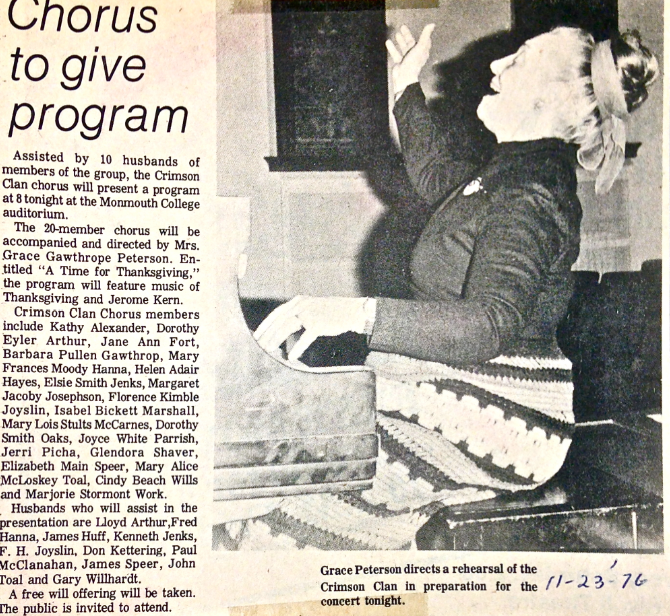 Newspaper Clipping Describing Show Including Crimson Clan Chorus