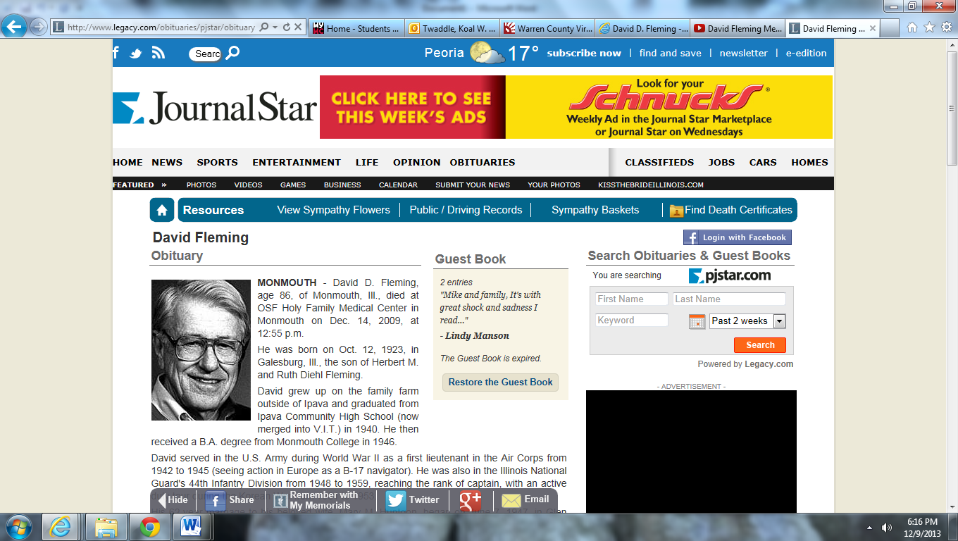 Screenshot of JournalStar Newspaper