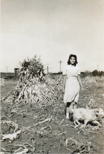 Lupe with dog Rover, 1940