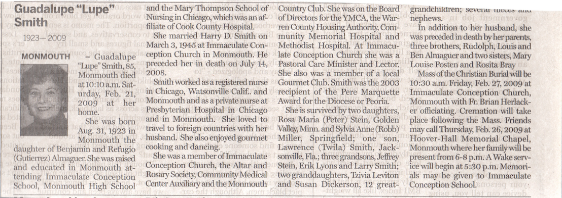 Lupe's obituary