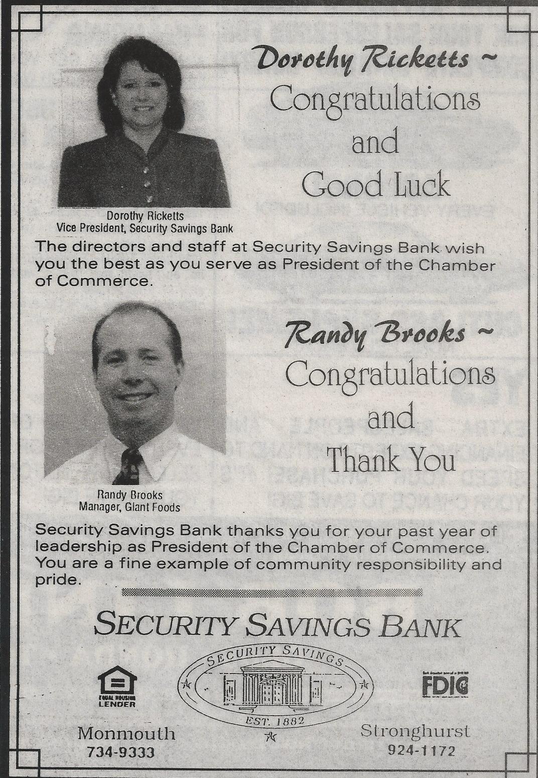 Security Savings congradulations