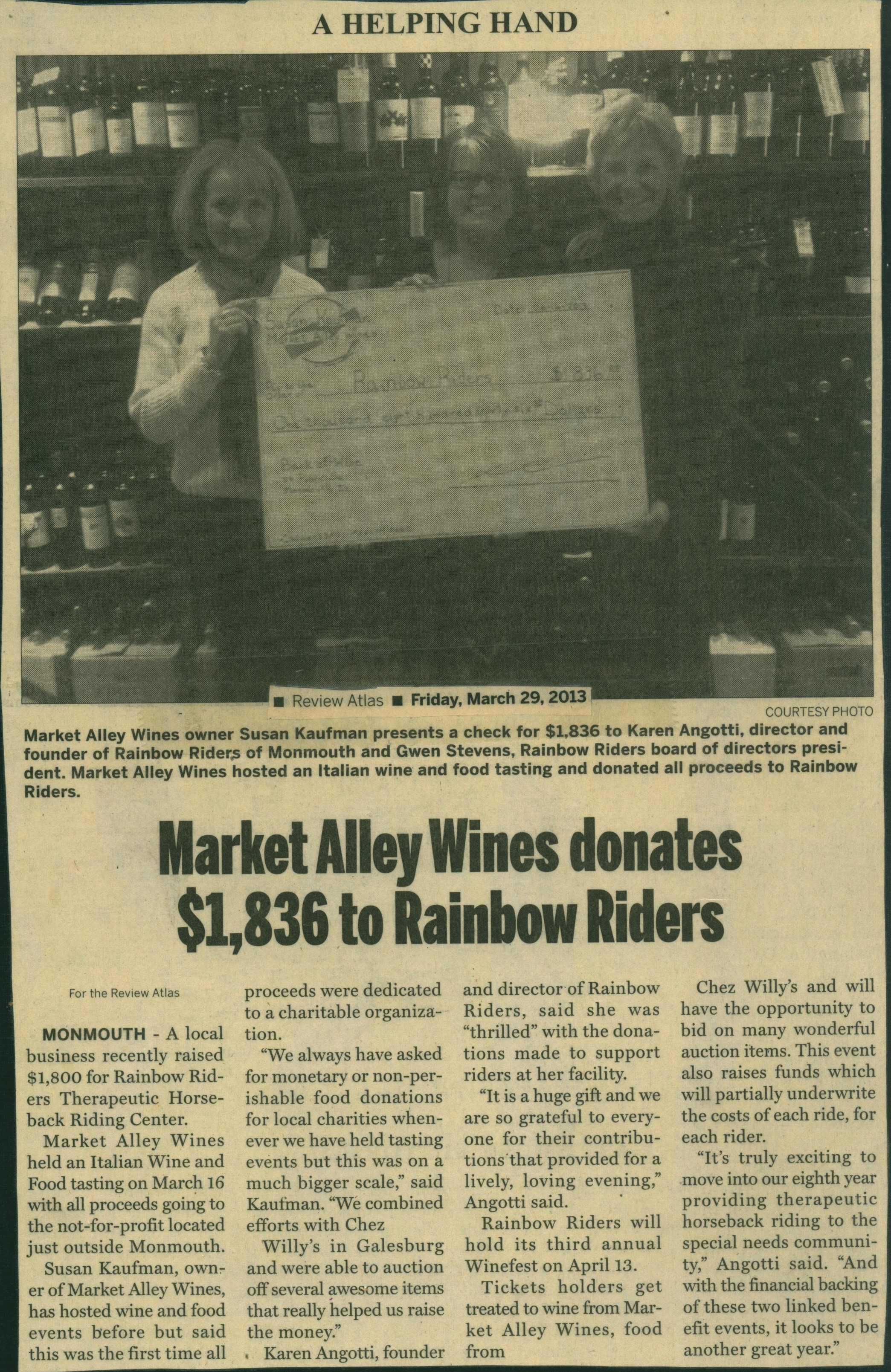 Market Alley Wines Donates