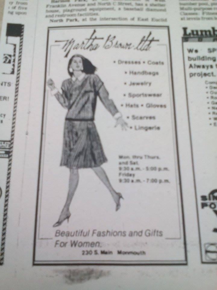 Matha Brown's Advertisement 1987
